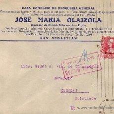Sellos: CARTA COMERCIAL (JOSE MARIA OLAIZOLA) 1938 SAN SEBASTIAN (GUIPUZCOA)-CESTONA. CENSURA MILITAR. MPM.. Lote 14348084