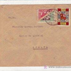 Sellos: CARTA CIRCULADA 1937 HUELVA INTERIOR, CON RARISIMO FRANQUEO: DOS SELLOS BISECTADOS Y UNO LOCAL.. Lote 25135524