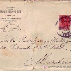 Sellos: RARA MARCA EN CARTA DE COMPAÑIA CAMINOS DE HIERRO DEL NORTE CIRCULADA 1926 DE LEON A MADRID.. Lote 13912991