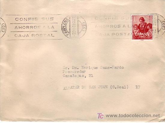 RODILLO PUBLICITARIO EN CARTA CIRCULADA 1960 DE PAMPLONA (NAVARRA) A ALCAZAR DE SAN JUAN. MPM. (Sellos - Historia Postal - Sello Español - Sobres Circulados)