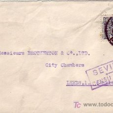 Sellos: CARTA CIRCULADA 1939 DE SEVILLA A INGLATERRA. CENSURA MILITAR Y 5 CTS. PRO SEVILLA. MPM.. Lote 12280114