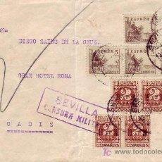 Sellos: EMISIONES LOCALES PATRIOTICOS VITORIA ALAVA EN CARTA CIRCULADA 1937 SEVILLA-CADIZ. CM. EL CID. RARA. Lote 27178668