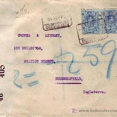 Sellos: FRONTAL DE CARTA CERTIFICADA 1919 DE SEVILLA A INGLATERRA. PAREJA ALFONSO XIII MEDALLON. CENSURA. Lote 25693184