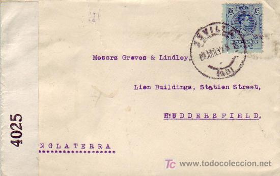 BANDA DE CENSURA INGLESA EN FRONTAL DE CARTA CIRCULADA 1919 SEVILLA A INGLATERRA. ALFONSO XIII. MPM. (Sellos - Historia Postal - Sello Español - Sobres Circulados)