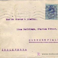 Sellos: BANDA CENSURA EN FRONTAL DE CARTA CIRCULADA 1919 DE SEVILLA A INGLATERRA. RODILLO MUDO. MPM.. Lote 3251301