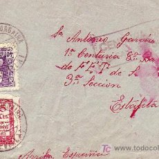 Sellos: ISABEL CATOLICA Y 5 CTS AUXILIO FRONTAL CARTA 1938 ALCALA GUADAIRA-PRIMERA CENTURIA, 8ª BANDERA. MPM. Lote 12294349