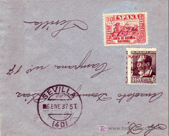 CARTA CIRCULADA 1937 SEVILLA INTERIOR. FRANQUEO E.L.P. SEVILLA Y OTRO INUTILIZADOS MANUALMENTE. (Sellos - Historia Postal - Sello Español - Sobres Circulados)