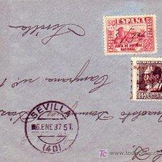 Sellos: CARTA CIRCULADA 1937 SEVILLA INTERIOR. FRANQUEO E.L.P. SEVILLA Y OTRO INUTILIZADOS MANUALMENTE.. Lote 26182715