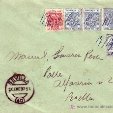 Sellos: RARO FRANQUEO ESPECIAL MOVIL EN CARTA COMERCIAL (JOSE BAGET) CIRCULADA 1937 SEVILLA INTERIOR LLEGADA. Lote 25322105