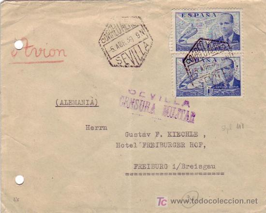 CARTA CIRCULADA POR CORREO AEREO 1939 DE SEVILLA A ALEMANIA. CENSURA MILITAR. MPM. (Sellos - Historia Postal - Sello Español - Sobres Circulados)
