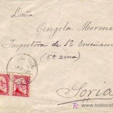 Sellos: REPUBLICA ESPAÑOLA DOS SELLOS AZCARATE EN CARTA CIRCULADA 1935 PROVINCIA DE VALENCIA-SORIA. RARA ASI. Lote 25914799