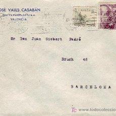 Sellos: RODILLO PATRIOTICO CON CENTRO INVERTIDO EN CARTA CIRCULADA 1942 VALENCIA-BARCELONA. EL CID. RARA ASI. Lote 15438445