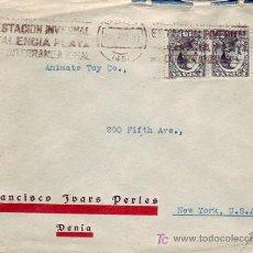 Sellos: RARO RODILLO ESTACION INVERNAL EN CARTA COMERCIAL FRANCISCO IVARS PERLES CIRCULADA 1931 VALENCIA-USA. Lote 13939959