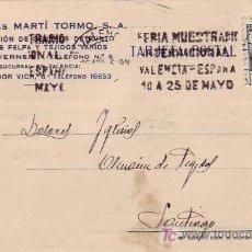 Sellos: TARJETA COMERCIAL CIRCULADA 1936 VALENCIA-SANTIAGO COMPOSTELA (LA CORUÑA). RODILLO PUBLICITARIO. Lote 26182735