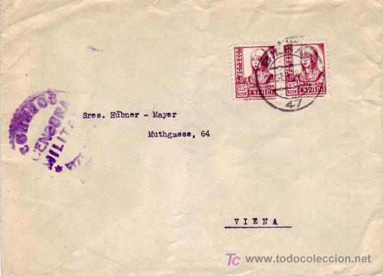 ISABEL LA CATOLICA CARTA CIRCULADA 1938 DE BILBAO (VIZCAYA) A VIENA (AUSTRIA). CENSURA MILITAR. MPM (Sellos - Historia Postal - Sello Español - Sobres Circulados)