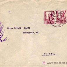 Sellos: ISABEL LA CATOLICA CARTA CIRCULADA 1938 DE BILBAO (VIZCAYA) A VIENA (AUSTRIA). CENSURA MILITAR. MPM. Lote 15736700