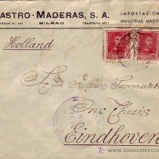 Sellos: CARTA COMERCIAL (CASTRO MADERAS, S.A.) CIRCULADA 1938 BILBAO (VIZCAYA)-HOLANDA. CENSURA MILITAR. MPM. Lote 15753429