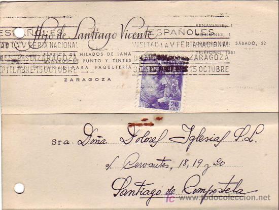 RODILLO FERIA EN TARJETA COMERCIAL (HIJO DE SANTIAGO VICENTE) 1945 ZARAGOZA-SANTIAGO COMPOSTELA MPM (Sellos - Historia Postal - Sello Español - Sobres Circulados)