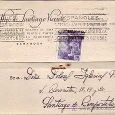 Sellos: RODILLO FERIA EN TARJETA COMERCIAL (HIJO DE SANTIAGO VICENTE) 1945 ZARAGOZA-SANTIAGO COMPOSTELA MPM. Lote 15790185