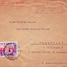 Sellos: RELIGION VIRGEN DEL PILAR XIX CENTENARIO, ZARAGOZA 1940. RARO MATASELLOS EN CARTA ZARAGOZA-HOLLYWOOD. Lote 23741712