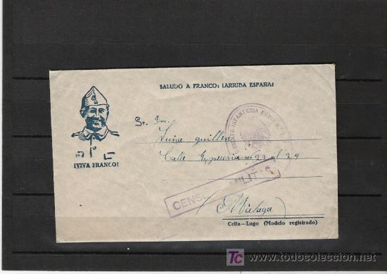 CENSURA MILITAR CON CARTA PARA MADRINA DE GUERRA CON MATASELLOS DEL REGIMIENTO PAVIA Nº 7 (Sellos - Historia Postal - Sello Español - Sobres Circulados)