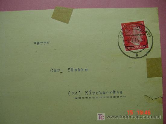 859 CARTA CIRCULADA 1944 ALEMANIA GERMANY HITLER COSAS&CURIOSAS (Sellos - Historia Postal - Sello Español - Sobres Circulados)
