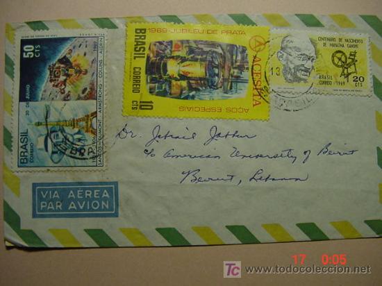 981 CARTA CIRCULADA BRASIL BRESIL A LIBANO LEBANON 1970 C&C (Sellos - Historia Postal - Sello Español - Sobres Circulados)