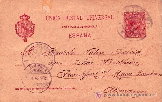 JOSE WERTHEIM ENTERO POSTAL CIRCULADO 1899 DE BARCELONA A FRANKFURT (ALEMANIA). LLEGADA. MPM. (Sellos - Historia Postal - Sello Español - Sobres Circulados)