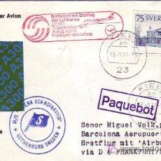 Sellos: RARA CARTA CIRCULADA POR BARCO 1977 SUECIA-ESPAÑA, VIA PRIMER VUELO AIRBUS A300 FRANKFURT-BARCELONA. Lote 22233900
