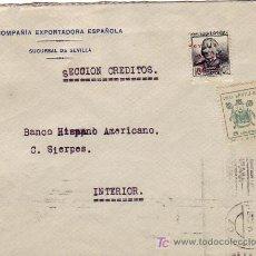 Sellos: CARTA COMERCIAL CIRCULADA 1936 SEVILLA INTERIOR. FRANQUEADA CON PATRIOTICO Y PRO SEVILLA. MPM.. Lote 3592512