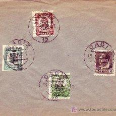 Sellos: COMEDORES MUNICIPALES: SOBRE CON MATASELLOS CADIZ 1936. RARO ASI.. Lote 24121810