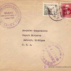 Sellos: EL CID E ISABEL CARTA COMERCIAL CIRCULADA 1939 BILBAO (VIZCAYA) A SEDE CHRYSLER EN DETROIT (USA) MPM. Lote 3605214