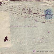 Sellos: CARTA COMERCIAL (GARCIA CALAMARTE Y CIA) CIRCULADA 1918 BARCELONA-FILADELFIA (USA) BANDA CENSURA MPM. Lote 3605244