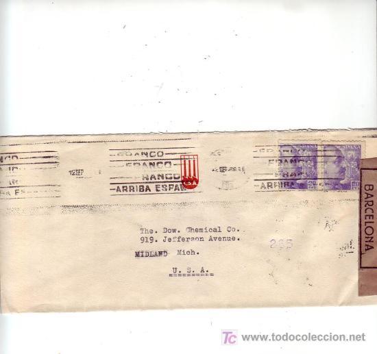 RODILLO PATRIOTICO CARTA COMERCIAL (COLORIFICIO SA) CIRCULADA 1945 BARCELONA-USA MARCAS CENSURA. MPM (Sellos - Historia Postal - Sello Español - Sobres Circulados)