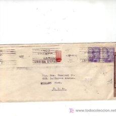 Sellos: RODILLO PATRIOTICO CARTA COMERCIAL (COLORIFICIO SA) CIRCULADA 1945 BARCELONA-USA MARCAS CENSURA. MPM. Lote 3605277
