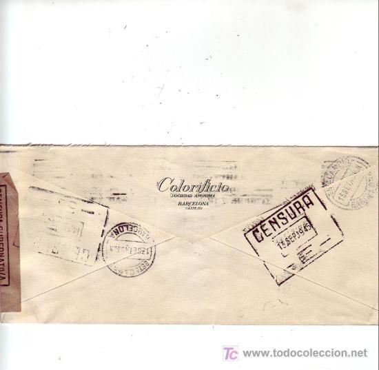 Sellos: RODILLO PATRIOTICO CARTA COMERCIAL (COLORIFICIO SA) CIRCULADA 1945 BARCELONA-USA MARCAS CENSURA. MPM - Foto 2 - 3605277
