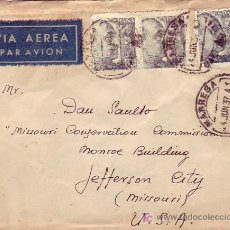 Sellos: AMBULANTE REVERSO CARTA CIRCULADA 1948 DE MANRESA A JEFFERSON CITY (USA). RARO ERROR AÑO MATASELLOS.. Lote 24121853