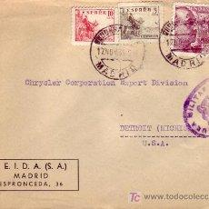 Sellos: GENERAL FRANCO SANCHEZ TODA Y EL CID EN CARTA COMERCIAL (SEIDA SA) CIRCULADA 1939 MADRID-USA CENSURA. Lote 3605563