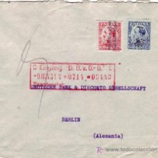 Sellos: DOS SELLOS PERFORACION (BANCO ANGLO-SUD AMERICANO) EN CARTA CIRCULADA 1931 BARCELONA A BERLIN. RARA.. Lote 23113502