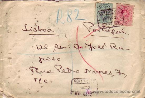 ALFONSO XIII MEDALLON EN CARTA CIRCULADA CERTIFICADA 1921 DE BADAJOZ A LISBOA (PORTUGAL). LLEGADA. (Sellos - Historia Postal - Sello Español - Sobres Circulados)