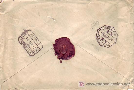 Sellos: ALFONSO XIII MEDALLON EN CARTA CIRCULADA CERTIFICADA 1921 DE BADAJOZ A LISBOA (PORTUGAL). LLEGADA. - Foto 2 - 23904647