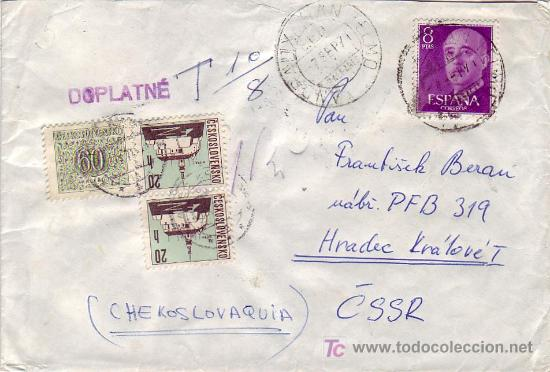 CARTA CIRCULADA 1971 DE ANDRAITX (BALEARES) A CHECOSLOVAQUIA. TASADA A LA LLEGADA. RARA ASI. (Sellos - Historia Postal - Sello Español - Sobres Circulados)