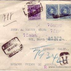 Sellos: CARTA CERTIFICADA 1907 DE BARCELONA A LOS ANGELES (USA). FRANQUEO CADETE BICOLOR TRANSITO NUEVA YORK. Lote 23132545