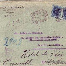 Sellos: CARTA COMERCIAL (BANCA MARSANS) CERTIFICADA 1928 BARCELONA-PARIS (FRANCIA). REDIRECCIONADA. LLEGADA.. Lote 22146071