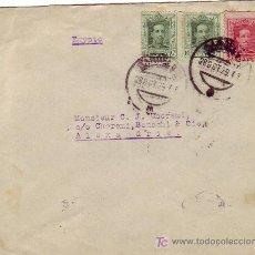 Sellos: DOS RARAS VIÑETAS EN CARTA CIRCULADA 1929 HOTEL RITZ DE BARCELONA A ALEJANDRIA (EGIPTO). LLEGADA.. Lote 22817964