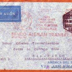 Sellos: RARO FRANQUEO MECANICO EN CARTA CIRCULADA 1936 DE BARCELONA A SAO PAULO (BRASIL). LLEGADA DORSO.. Lote 23166916
