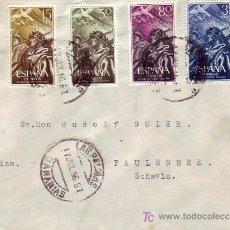 Sellos: XX ANIVERSARIO ALZAMIENTO NACIONAL (EDIFIL 1187/90) EN CARTA 1956 (P.D.) LAS PALMAS-SUIZA. RARA ASI.. Lote 22690811