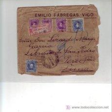 Sellos: CARTA (EMILIO FABREGAS) CERTIFICADA 1909 VIGO PONTEVEDRA-PERU. AMBULANTE TRANSITO NUEVA YORK LLEGADA. Lote 24555678