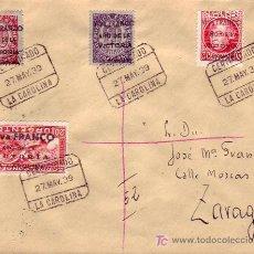 Sellos: RARA VARIEDAD DE FRANQUEO LOCALES PATRIOTICOS EN CARTA CIRCULADA 1939 LA CAROLINA (JAEN) A ZARAGOZA.. Lote 23151027