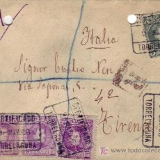 Sellos: CARTA CIRCULADA CERTIFICADA 1906 DE TORRELAGUNA (MADRID) A FLORENCIA (ITALIA). Lote 23932426